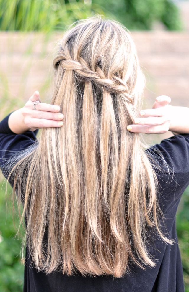 waterfall braid, Partial French Braid Cascade Hair Tutorial -back   , wedding hair, braids, hair tutorials, how to french braid, half french braid, pretty hair styles: Hair Ideas, Hairstyles, Waterfalls, Hair Styles, Makeup, Waterfall Braids, Beauty