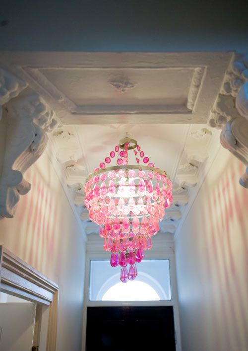 what little girl wouldn't want a pink chandelier?: Pink Chandelier, Things Pink, Color, Chandeliers, Girls Room, Pink Pink, Pink Chandy, Pink Passion