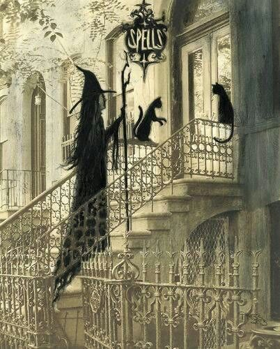 Witch ascending victorian row house store front staircase and black cats - can't find source to credit artist: Black Cats, Witches, Witchy Woman, Artist Terri, Hallows, Halloween, Terri Foss