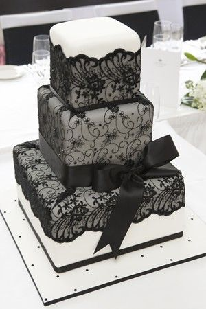 Black lace could replace expensive decoration #Wedding Cake ... Wedding ideas for brides, grooms, parents  planners ... https://itunes.apple.com/us/app/the-gold-wedding-planner/id498112599?ls=1=8 … plus how to organise an entire wedding, without overspend