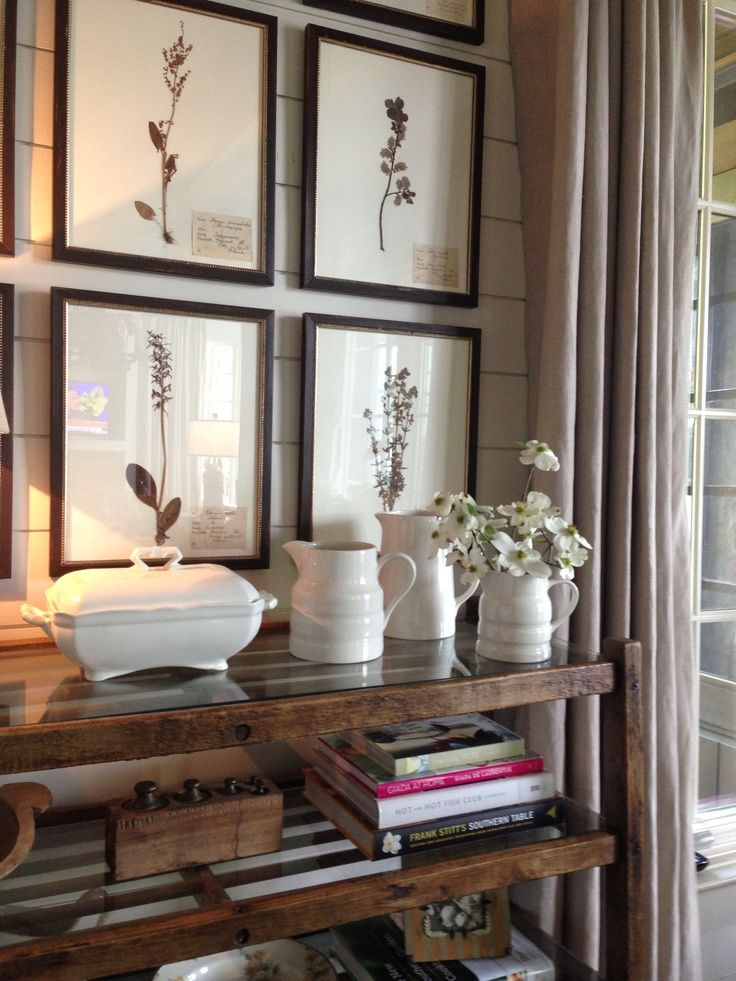 botanical prints and simple white accessories with rustic shelves: Vignettes, Home, Interior, Decor Ideas, Inspiration, Botanical Prints, Dream, Decorating Ideas