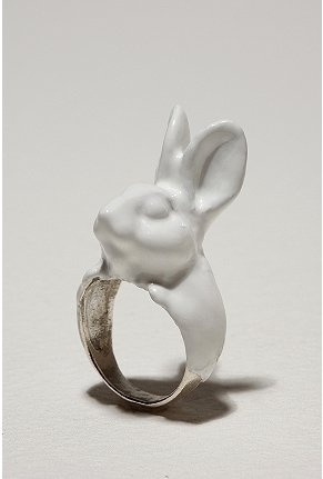 bunny ring: Urban Outfitters, Catalog, White Rabbits, Calourette Rabbit, Rings, Jewelry, Accessories