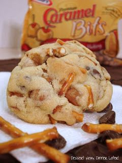 Caramel Pretzel Chocolate Chip Cookies Recipe ~ CHUNKS of pretzels, caramel bits, & chocolate chips.  These are no wimpy cookies.  They're thick, chunky, sweet, & salty and Oh So Good!: Cookie Monster, Chocolate Chips, Caramel Pretzel, Pretzel