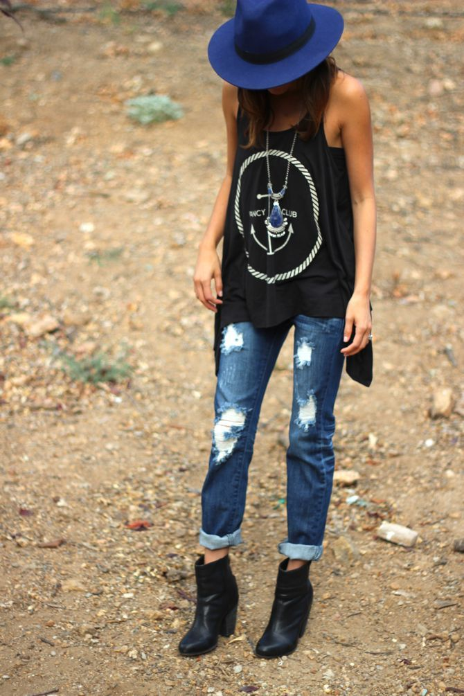 Edgy boho outfit - denim, black ankle boots, blue felt fedora, chunky crystal pendant.: Hats, Boyfriend Jeans, Fashion Style, Clothes, Spring Summer, Outfit, Tank, Shirt