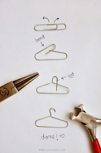 From Paper Clips to Mini Hangers, DIY by Agus Yornet. Perfect for the knit mini sweater ornaments.: Paperclip, Creative Card, Clothes Hanger, Mini Hanger, Love Card, Dollhouse, Diy
