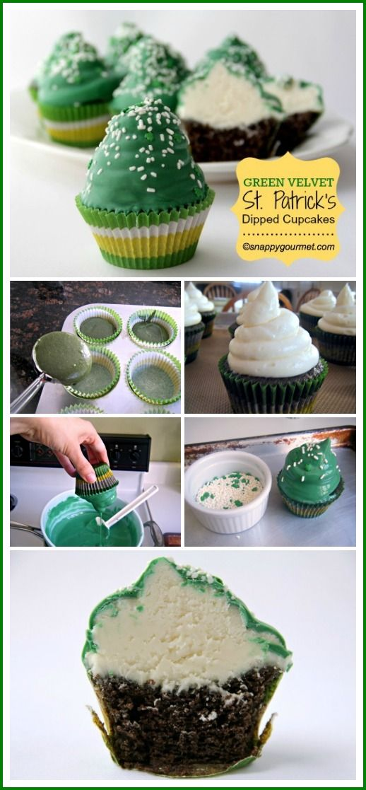 Green Velvet St. Patrick's Dipped Cupcakes | snappygourmet.com: Cream Cheese, Himself