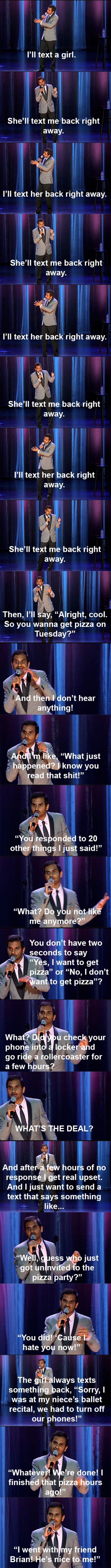 HAHAHA IM DYING: He S Nice, Giggle, My Life, Funny Stuff, Aziz Ansari, So True, So Funny, Pizza Party