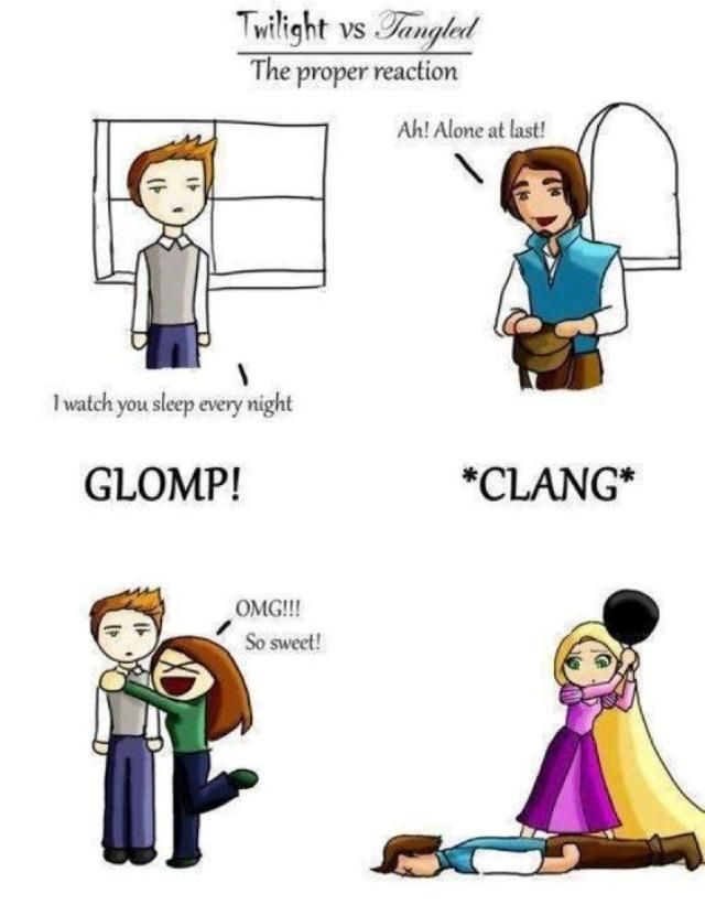 How to PROPERLY respond when someone climbs through your window.  Thank you, Rapunzel!: Tangled, Twilight, Funny Stuff, Movie, Disney, Proper Reaction