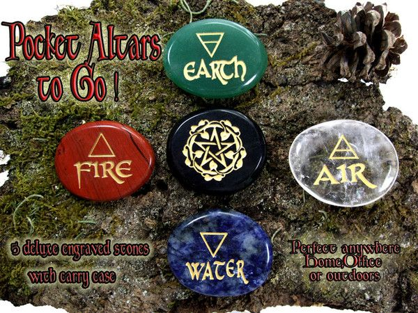 Pocket Altar to Go!! Engraved Aventurine, Quartz, Red Jasper, Sodalite, Obsidian crystals. This is the Element stones Set now available in Gold or Silver!: Pocket Altar, Wicca, Pagan, Pockets, Engraved Stones, Element Stones, Altars, Pc Stone