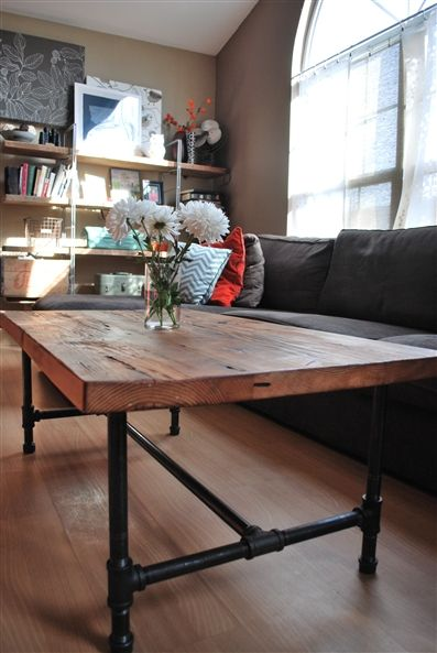 Reclaimed wood coffee table |urban decor furniture |custom woodworking #urbanliving #woodworking #custom: Wood Coffee Tables, Reclaimed Wood, Idea, Pipe Legs, Wood Tables, Kitchen Table, Rustic Wood Table, Steel Pipe, Dining Tables