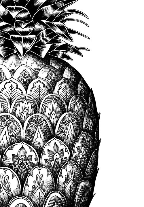 Something like this on the scales covering the tank and fenders...: Idea, Pineapple Design, Pattern, Pineapple Drawing, Art, Pineapple Doodle, Pineapple Zentangle, Zentangle Pineapple