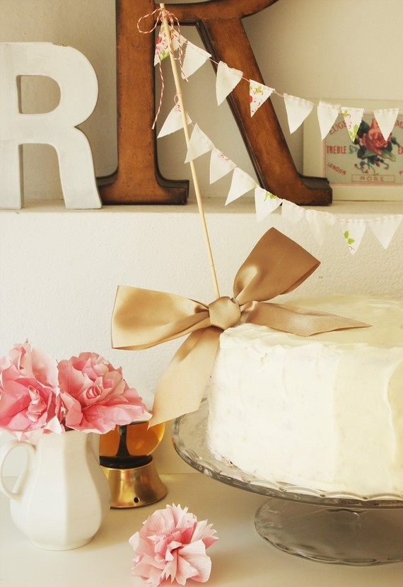 Taupe bow and bunting cake topper. Adorable!: Birthday, Pretty Cake, Cakes, Wedding, Cake Bunting, Buntings, Party Ideas, Cake Toppers