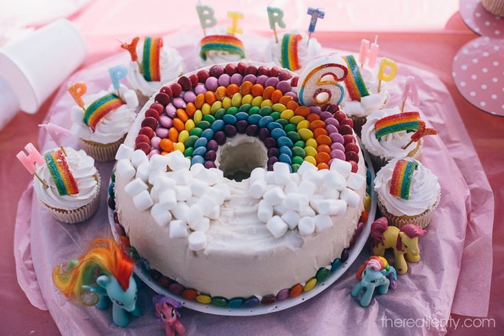 "The Rainbow birthday cake I decorated for my 6 year old girls party - bought the delicious Milky Bar Chiffon Cake at the PIckled Plum and then added all the pretties. Went down a treat. Got the ideas from Pinterest and ""nailed it"" I think :-).  Jo"