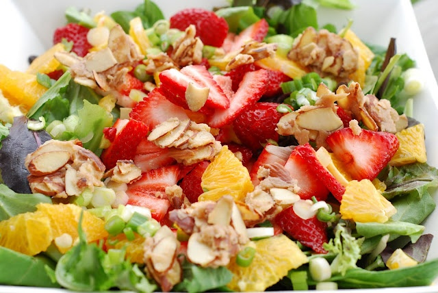 TRIED IT - LOVED IT! Truly the best salad we have ever eaten. Pull back on the candied almonds for less calories, if desired. I could eat those almonds all day!    Orange Dressing with Orange Strawberry Salad: Orange Dressing, Strawberry Orange Salad, Fun