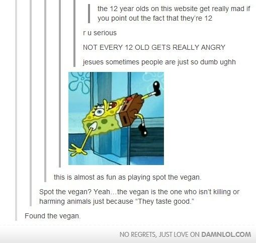 Tumblr posts - Imgur I'm actually 12 though be told I am 12 doesn't make me mad ... What does is acting like its a bad thing: Giggle, Vegans, 12 Year, Funny Stuff, Humor, Funnies