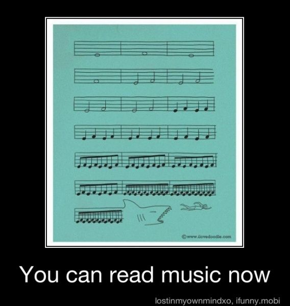 Well that doesn't really help you read music as funny as it may be. If they would have labeled the lines and spaces theeeeeen it would help bcuz not only would you be able to hear it in your mind but you would also be able to understand more of readin