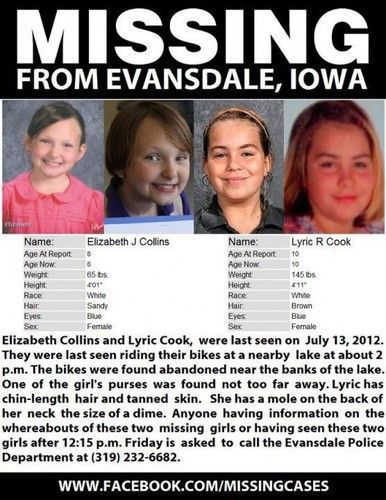 """But as Iowa police struggle with only the girls' bikes and Elizabeth's purse, found by a firefighter on a bike trail near Meyers Lake, I can't help wondering if it's time to revamp it so we can help more kids.    In the meantime, will"