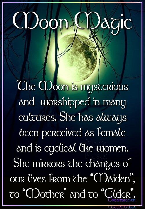"""""""The Moon is mysterious and worshiped in many cultures. She has always been perceived as female and is cyclical like women. She mirrors the changes of our lives from 'Maiden' to 'Mother' and to 'Elder.'"""" Contrary to what is"""