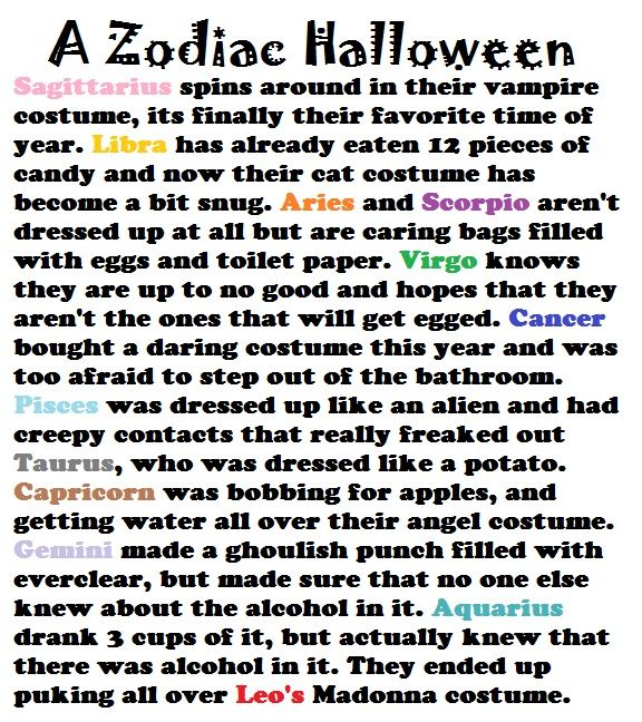 A Zodiac Halloween: Signs Stuff, Google Search, Zodiac Halloween, Horoscope, Aquarius, Zodiac Signs Scenarios, Zodiac Signs As A Holiday, Cancer, Story Signs