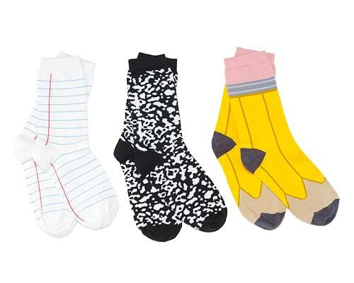 BACK TO SCHOOL SOCKS | Pencil, Paper, Composition Notebook, School Supplies | UncommonGoods: Schools, Gift Ideas, School Supplies, Composition Notebooks, Things, Teacher, Pencil Socks, Back To School Socks, Backtoschool