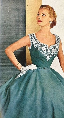 Cool, bare, embroidered cocktail dress by David Crystal, Avisco Rayon ad, Harper's Bazaar, May 1952: 1950Sfashion, Vintage Dresses, Vintage Fashion, 1950S Dresses, 1950Sdress, 1950 S, 1950S Fashion, Vintage Style, Vintage Clothing