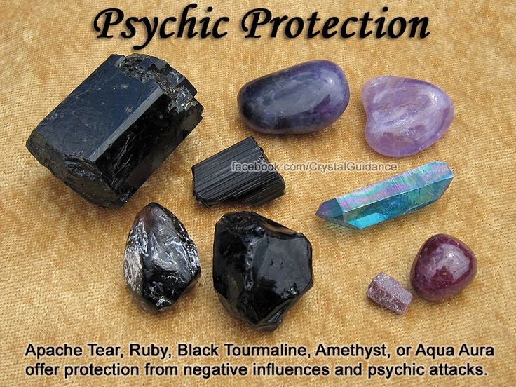 Crystals for Psychic Protection — Apache Tear, Ruby, Black Tourmaline, Amethyst, or Aqua Aura offer protection from negative influences & psychic attacks. Carry your favorite protection crystal(s) with you or wear them as a pendant at the Higher Heart