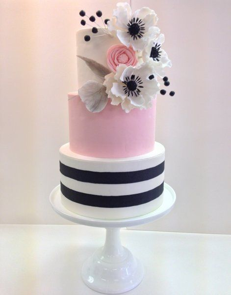 Don't forget some gorgeous black and pink personalized napkins to match this gorgeous cake! #itsallinthedetails www.napkinspersonalized.com: Black And White Birthday Cake, White Wedding Cake, Wedding Cakes, Black And White Cake, Pink And Black Cake, P