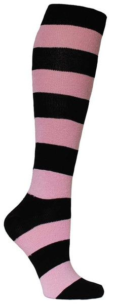 Light pink & black large striped knee high length sock.  Fits women's shoe size 5-10.: Knee Socks, Knee Highs, Stripes, Knee High Socks, Products, Pink Black