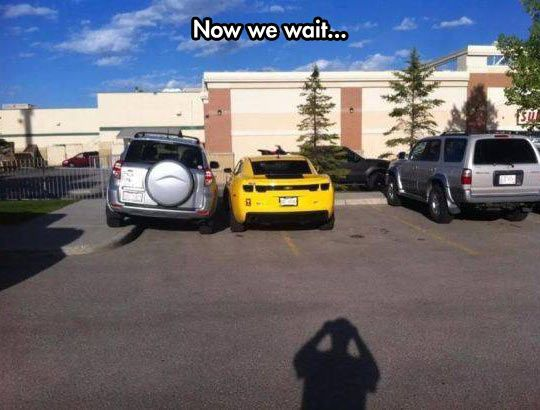 more people need to do this! Maybe then there will be more ppl learning to PARK RIGHT!!!! (hilarious) I might try this!: Car, Bad Parking, Parking Revenge, Funny Stuff, Humor, Funnies, People