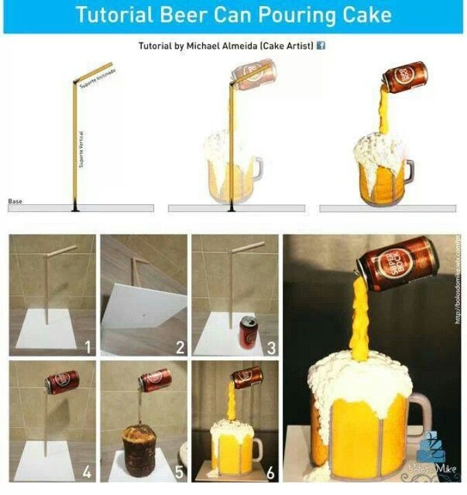 Pouring Beer Can Cake Picture Tutorial: Cake Design, Gravity Defying Cake, Beer Cakes, Cake Ideas, 3D Cake, Gravity Cake, Cake Tutorials, Cake Decorating