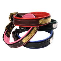 These beautiful, classy collars are handcrafted in the USA using high-quality, durable leather and padding. We engrave a rivet-on nameplate for free!