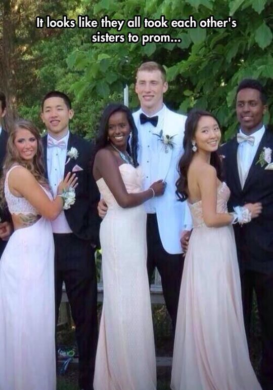 This is AWESOME: Funny Prom, Giggle, Interracial Couples, Other S Sisters, Racist Funny, Funny Coincidences Hilarious, So Funny, Prom Funny