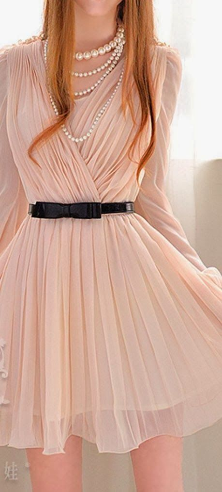 Adorable Nude long sleeved pleated chiffon dress | Fashion World: Pleated Chiffon, Women S, Fashion, Sleeved Pleated, Style, Chiffon Dresses