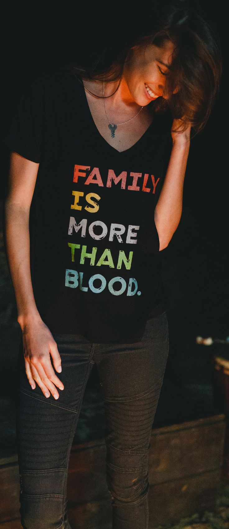 Family is more than blood!  Brittany needs this shirt, and then I'll need it when she carries our next baby! :3 Shoot, I want it now because of Kaylee <3  It's so true <3: