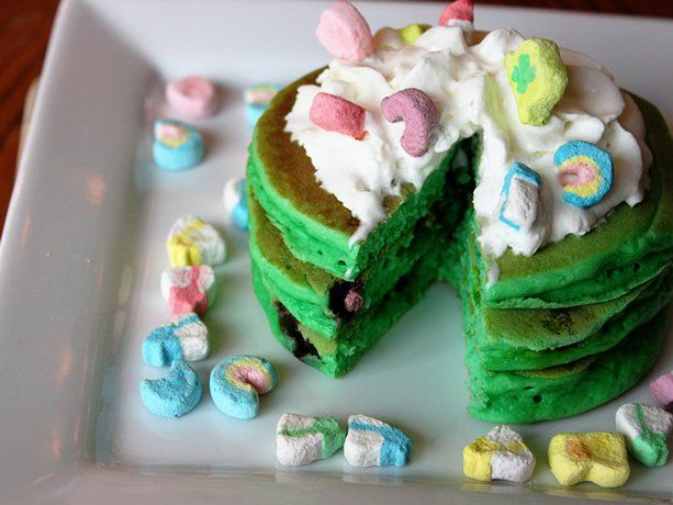 Great  St Patricks Day Breakfast idea from Betty Crocker: Holiday, Recipe, Lucky Charms, St. Patrick'S Day, Charms Pancakes, Patricks, Top