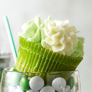 Shamrock milkshake cupcakes !!!!! Mmmmm.... Crème de Menthe and white chocolate make these adorable green cupcakes every bit as delicious as the fast-food milkshake. When using food coloring, add the color a tiny bit at a time so that you get the exact ti