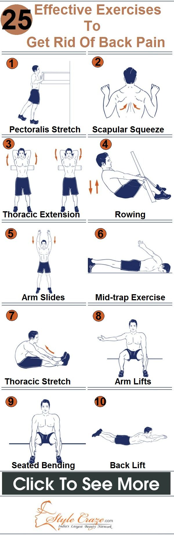 25 Effective Exercises To Get Rid Of Back Pain. Stay healthy my friends. www.selfiesnation.com: Backpain, Stay Healthy, Health Tip, Fitness Healthy, Fitness Exercises, Back Pain Exercise, Effective Exercises, Exercises Fitnesstips, Workout