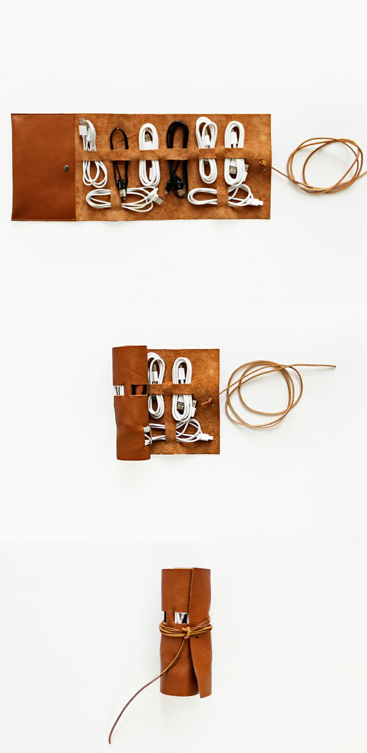 Cordito Supreme - corral all of your cords in one place! Great for travel too.: Ideas Diy Art, Diy Cord Organizer, Diy Leather, Diy J, Gift Ideas, Diy Iphone Cable, Diy Life, Leather Gifts