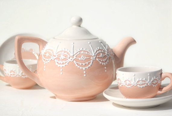Custom order  lace teapot and 4 tea cups hand by Dprintsclayful, $120.00: Tea Time, Tea Pot, Order Lace, Cups Hand, Custom Order, Tea Cups, Teacup, Lace Teapot