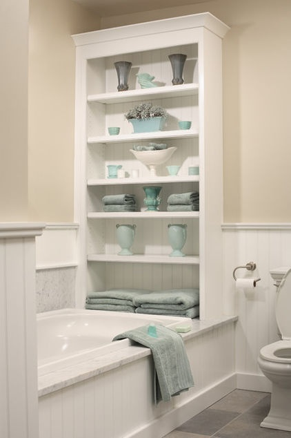 Great ideas for little bathrooms DESIGN KITCHEN AND BATH,INC ,CALL US FOR PRICING 516-326-1543: Small Bathroom, Built In, Bathroom Storage, Bathtub, Storage Idea, Bathroom Ideas, Home Bathroom, Master Bathroom