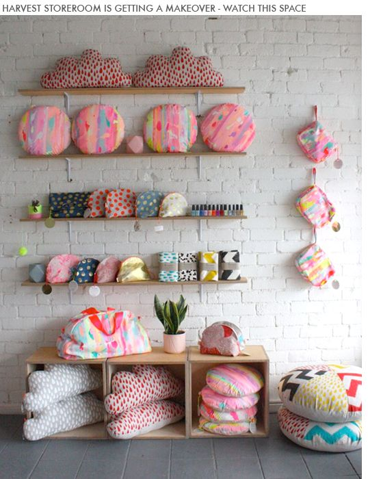 Harvest textiles and workshop is in Melbourne. Focus is on whimsical and fun prints that are hand screen printed.: Colour, Craft, Harvest Storeroom, Textile Display Ideas, Harvest Textiles, Photo, Kids Textile