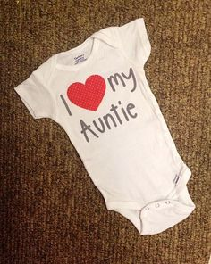 I love my Aunt Onesie//Sizes newborn-24 Months//I love my auntie onesie with red polka dot Heart and Gray lettering on www.positivelyoakes.com, $20
