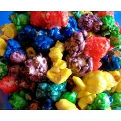 Koolaid Popcorn! Just made this and I must say its pretty friggin awesome! I made 1/2 the syrup recipe and it was a lot. I'd say if ur gonna make more than one color make 1/4 of the recipe for each color.: