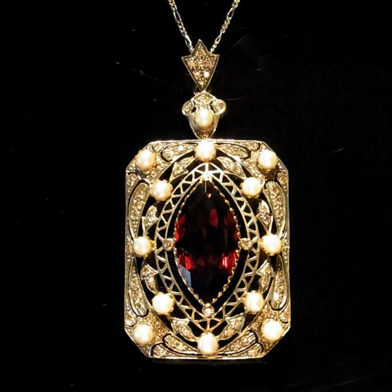 Large Vintage Diamond Pearl & Garnet Edwardian: Vintage Diamond, Pearls Large, Large Vintage, Garnet Edwardian, Diamonds, Edward Fashion