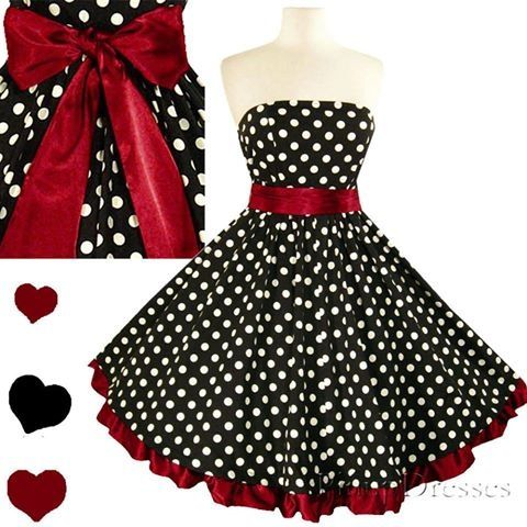 Love! Cute dress. Pin up girl type style :) I think this would make a cute Bridesmaid dress for a wedding with black and red as the colors.: Full Skirts, Polka Dots, Fashion, Rockabilly 50S, Style, Dresses, Polkadots, Swing Dress