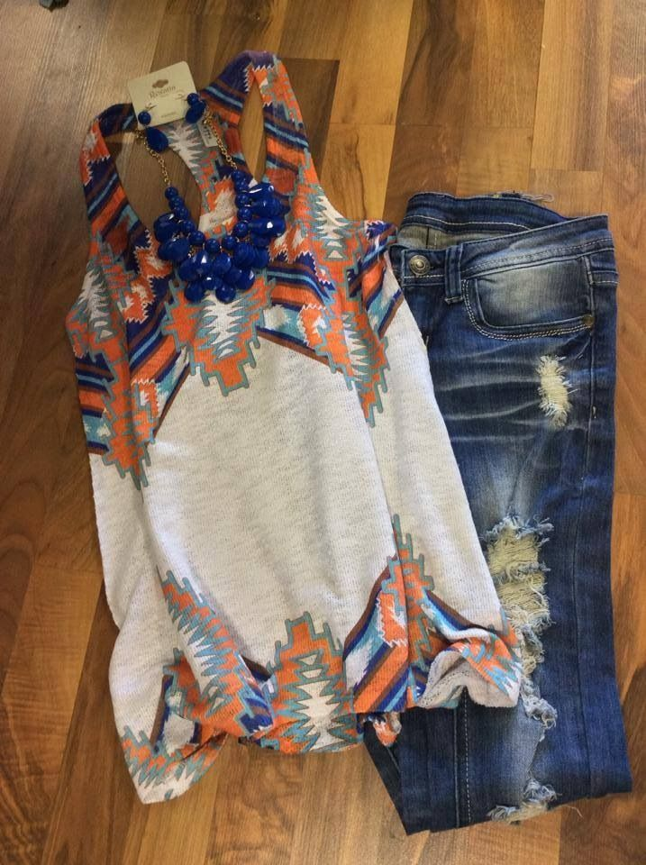 Love the pattern of the shirt and the distressed jeans #stitchfix Follow this link to try #StitchFix https://www.stitchfix.com/referral/4802007: Tank Top Outfit, Fall Country Outfit, Summer Outfit, Clothesss, Country Girl Outfit, Country Fall Outfit, Ripp