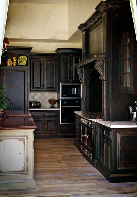 LOVE the vintage look of these cabinets.  I'm going for the black and cream look in my kitchen soon!: Dark Cabinet, Black Cabinets, Black Kitchens, House, Kitchen Ideas, Dream Kitchens, Kitchen Cabinets