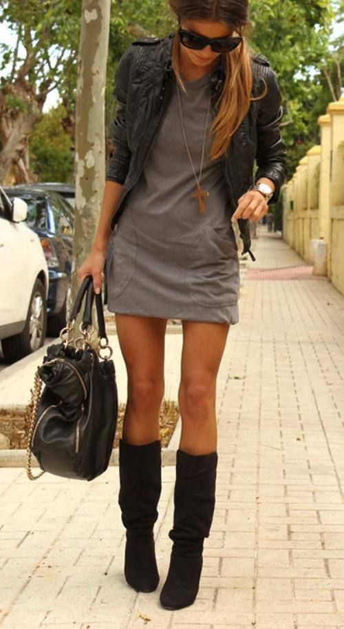 Stylish Clothing Outfits : the boots the jacket and a dress perfect for fall: Fashion, Style, Dresses, Leather Jackets, Fall Outfit, Fall Winter