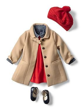 Baby Clothing: Baby Girl Clothing: New Arrivals | Gap. got the coat and dress, just need the shoes and denim shirt...: Baby Fall Outfit, Baby Girl Outfit, Baby Girl Dress, Baby Girl Fall Outfit, Baby Girl Coat, Baby Girls, Baby Outfit, Baby Girl Winter Ou