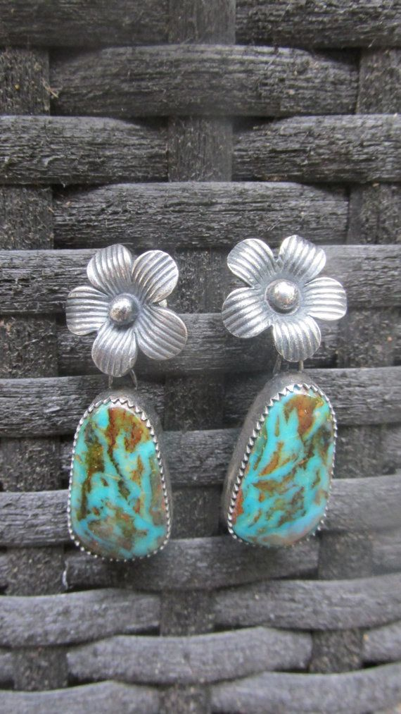 Flora Earrings - Kingman Turquoise and Sterling Flowers: Indian Jewelry, Sterling Earrings, Turquoise Earrings, American Jewelry, Jewels, Flora Earrings, Flower, Jewelry Turquoise, Silver Smith Earrings
